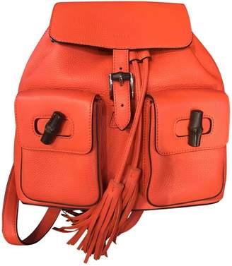 Gucci Bamboo Orange Leather Backpacks