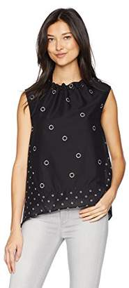 Kenneth Cole Women's Grommet Printed Sleeveless Top