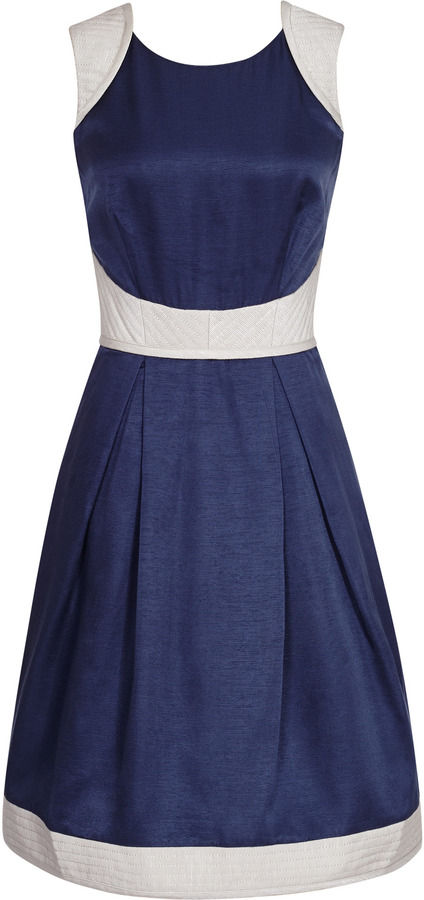 Reiss Teddy FIT AND FLARE QUILTED DRESS