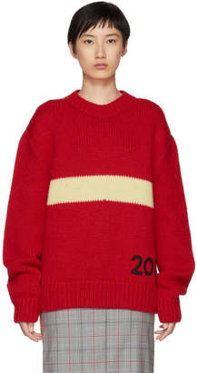 Calvin Klein Red and Off-White Logo Crewneck Sweater