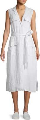 James Perse Sleeveless Linen Midi Shirtdress