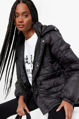boohoo Oversized Hooded Puffer Jacket