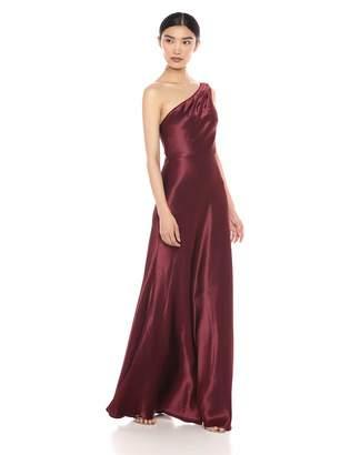 Jenny Yoo Women's Lena One Shoulder Satin Crepe Long Gown