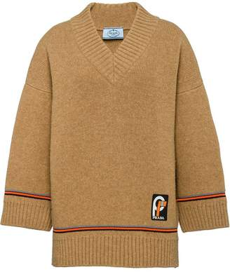 Prada logo patch knitted jumper