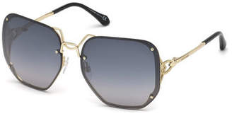 Roberto Cavalli Square Rimless Gradient Sunglasses, Silver