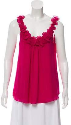 Rebecca Taylor Sleeveless Ruffle-Accented Top