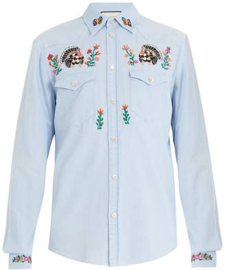 Gucci Point-collar floral-embroidered denim shirt