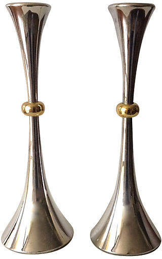 Danish Silverplate Candleholders