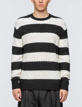 McQ Striped Cable Crewneck Sweater