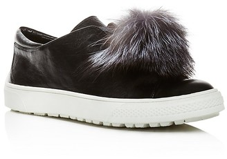 Delman Marli Leather and Marten Fur Pom Pom Sneakers $248 thestylecure.com