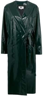 MM6 MAISON MARGIELA belted waist vernished coat