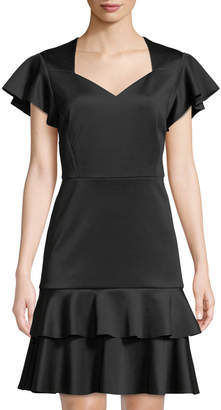 philosophy Sweetheart-Neck Ruffle Crepe Dress