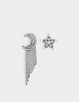 Helene Zubeldia Exclusivity - Asymmetrical Star and Moon Crystals Cascade Earrings in Ruthenium and Crystals