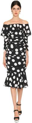 Dolce & Gabbana POLKA DOT STRETCH CHARMEUSE MIDI DRESS