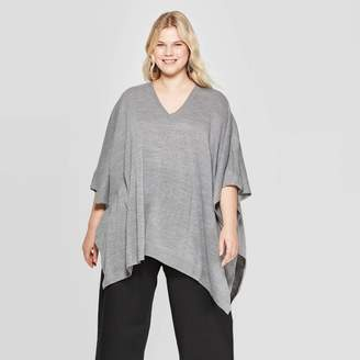 A New Day Women's Plus Size Turtleneck Pullover Poncho Wrap Jacket Heather Gray One Size