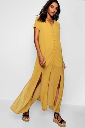 boohoo Natalya Chiffon Button Through Sliced Maxi Dress