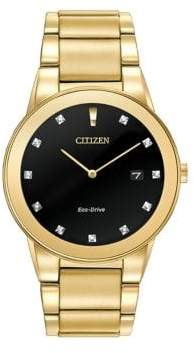 Citizen Analog Axiom Diamond and Yellow Goldtone Stainless Steel Watch