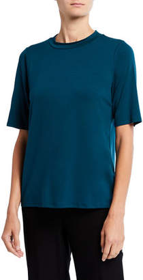 Eileen Fisher Mock-Neck Elbow-Sleeve Jersey Top