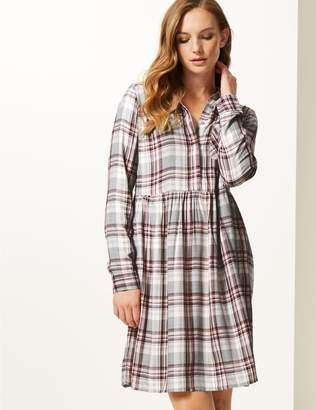 Marks and Spencer Checked Long Sleeve Drop Waist Dress