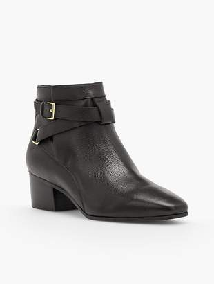 Talbots Dakota Block Heel Ankle Boots - Pebble Leather