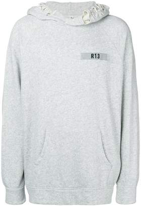 R 13 logo patch distressed hoodie