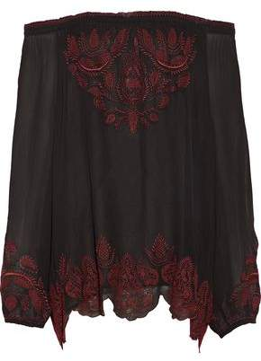 Joie Ariena Off-The-Shoulder Embroidered Crepe De Chine Top