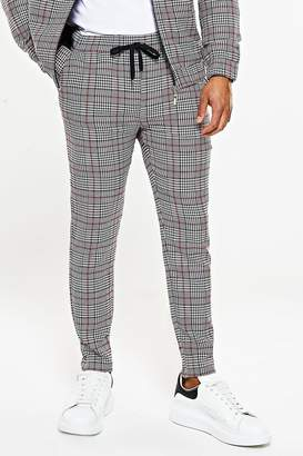 BoohooMAN Prince Of Wales Skinny Smart Cropped Jogger