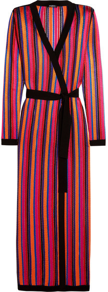 BalmainBalmain - Striped Open-knit Cardigan - Red