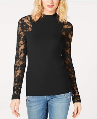 INC International Concepts I.n.c. Petite Lace-Sleeve Sweater