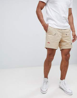 Polo Ralph Lauren Nautical Embroidery Prepster Drawstring Chino Shorts Player Logo In Beige