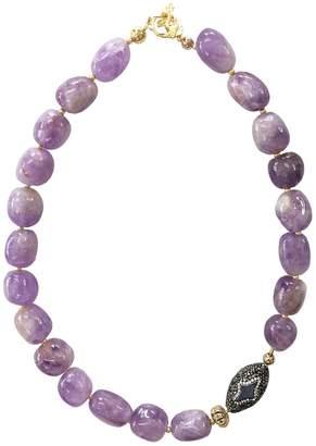 Farra - Nugget Amethyst & Star Pearl Rhinestones Short Necklace