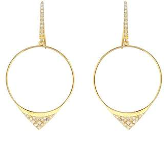 Lana 14K Yellow Gold Electric Pave Diamond Front Facing Hoop Drop Earrings - 1.14 ctw