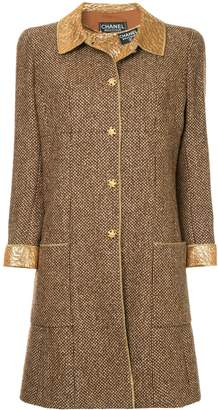 Chanel Pre-Owned straight midi tweed coat
