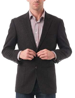 Verno Big Men's Black Textured Color Flecked Wool Blend Blazer