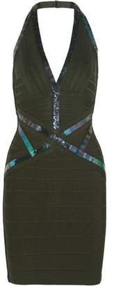 Herve Leger Kaitlyn Sequin-embellished Bandage Halterneck Mini Dress