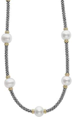 Lagos 18K Gold and Sterling Silver Luna Rope Necklace with Cultured Freshwater Pearls, 16""