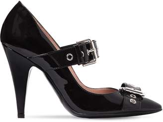 Moschino 100mm Buckled Patent Leather Pumps