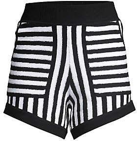 Victor Glemaud Women's Striped Terry Mini Shorts