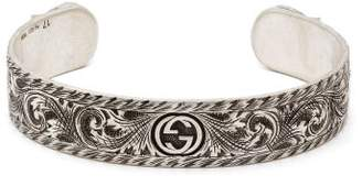 Gucci Tiger Head Sterling Silver Cuff Bracelet - Mens - Silver