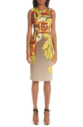 Versace Geometric Scroll Print Sheath Dress