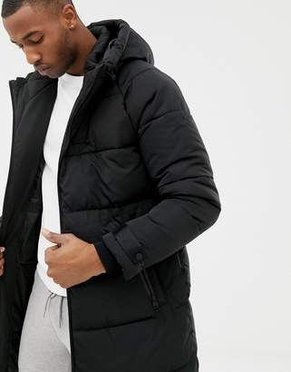 Bershka puffer jacket in longer length in black