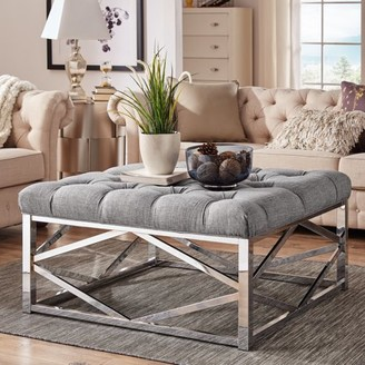 Weston Home Libby Button Tufted Cushion Ottoman Coffee Table with Chrome Metal Geometric Base, Multiple Colors