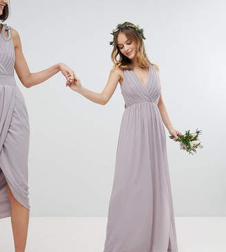 TFNC Petite Petite Pleated Maxi Bridesmaid Dress With Back Detail