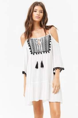 Forever 21 Sheer Tribal-Inspired Open-Shoulder Peasant Dress