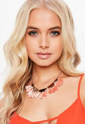 Missguided Look Necklace With Peach Fabric Tassels
