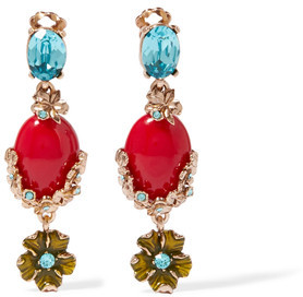Oscar de la Renta - Gold-plated, Swarovski Crystal And Resin Clip Earrings - one size $265 thestylecure.com
