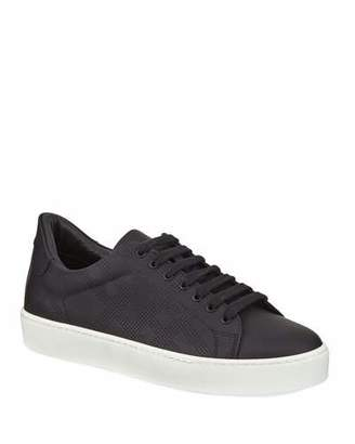 Burberry Westford Perforated Leather Low-Top Sneakers, Black