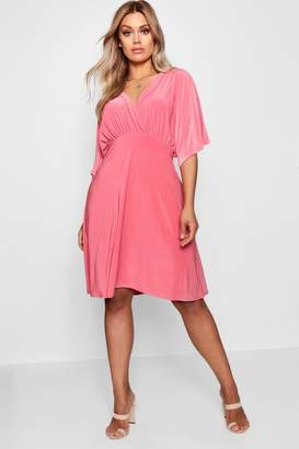 boohoo Plus Lydia Slinky Wrap Over Skater Dress