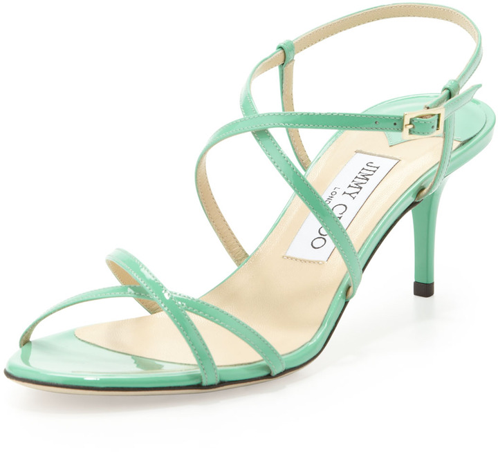 Jimmy Choo Elisa Low-Heel Patent Crisscross Sandal, Peppermint