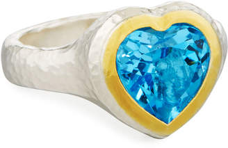 Gurhan Romance Swiss Blue Topaz Heart Ring, Size 7